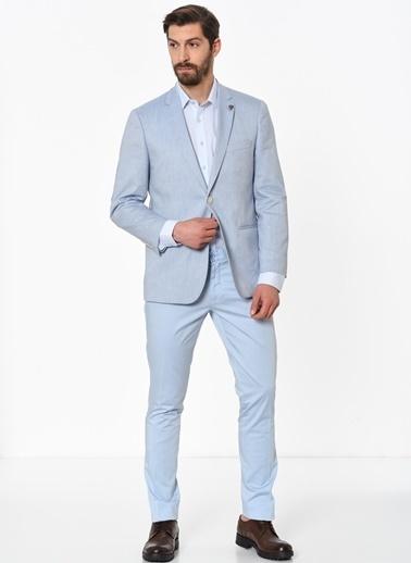 Beymen Business 4B0118200015 Slim Fit Pantolon Saten Mavi